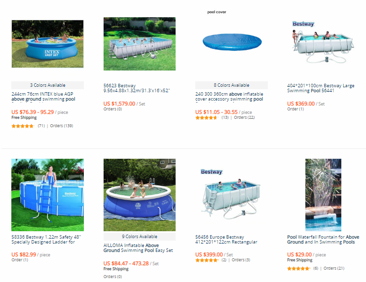 "Best Drop Shipping niches ""Above Ground Pools"", AliExpress products` examples"
