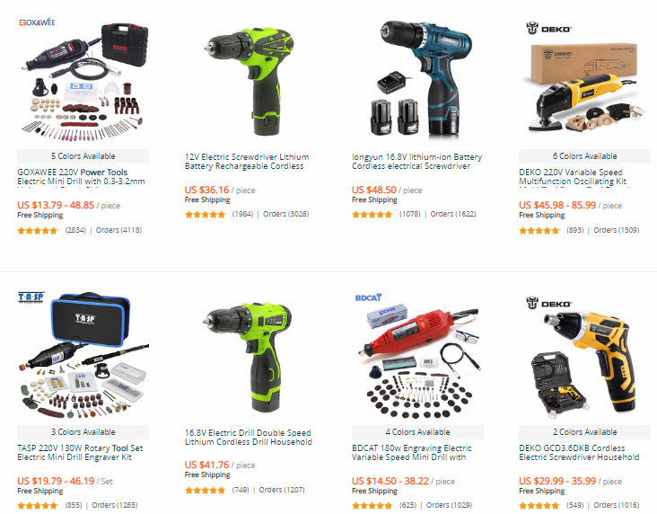 "Best Drop Shipping niches ""Power tools"", AliExpress products` examples"